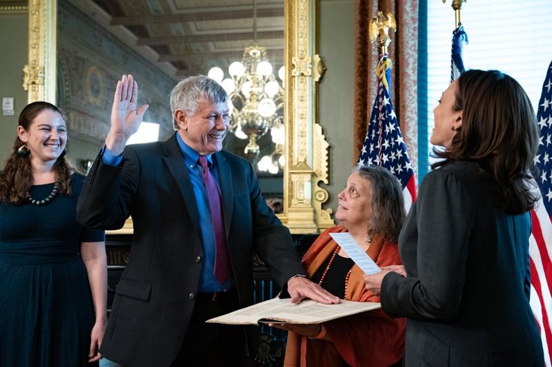 U.S. Vice President Kamala Harris swears in Eric Lander