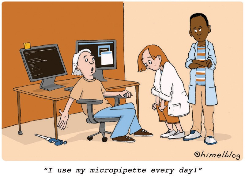 Cartoon: A person shows their desk propped up on a micropipette. Caption:
