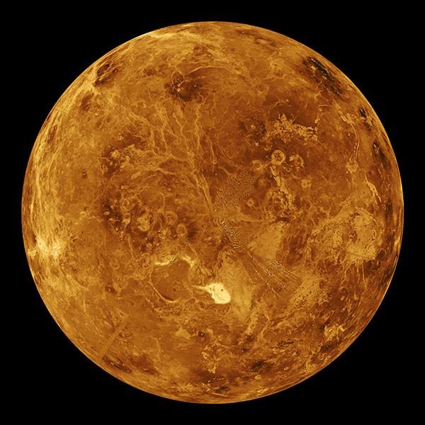 Computer simulated global view of the northern hemisphere of Venus.