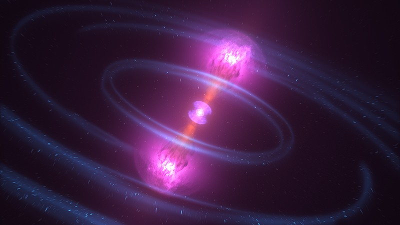Illustration of the neutron star merger known as GW170817, detected on Aug. 17, 2017.