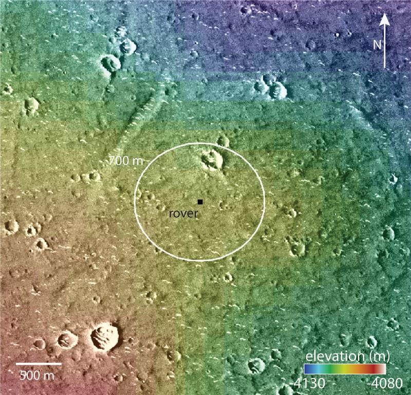 Çin Mars gezgini Zhurong'un iniş alanını gösteren Mars yüzeyinin topografik görüntüsü