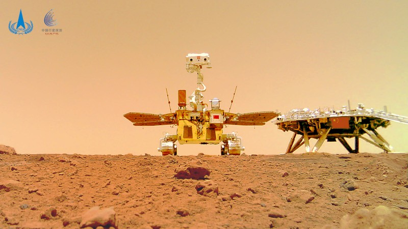 Photo taken by the Zhurong Mars rover of itself and its landing platform on the surface of Mars