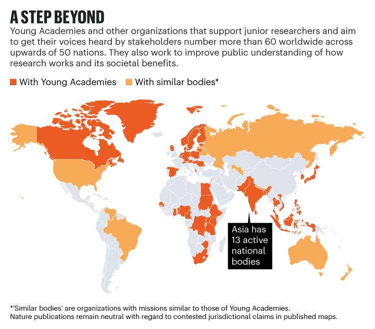 A step beyond: World map showing the distribution of Young Academies and similar organizations across upwards of 50 nations.