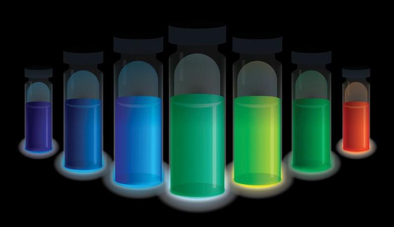 Farklı renkli sıvılar içeren yedi tüpün çizimi
