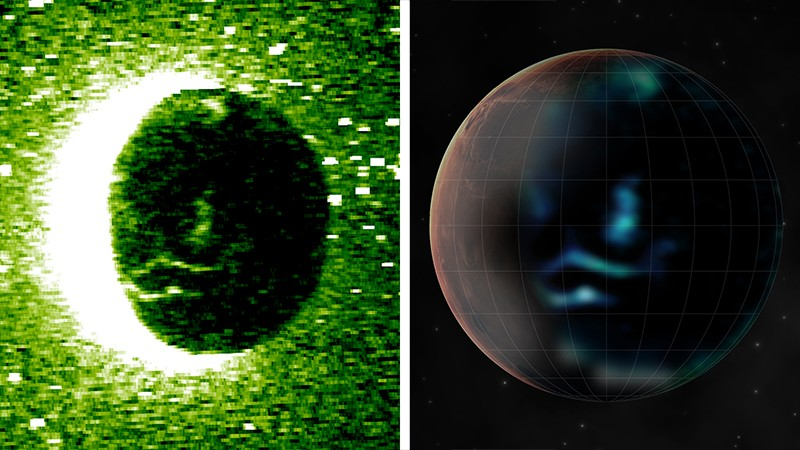 Left, atomic oxygen emission from Mars; right, an artist's impression inspired by data captured at Mars shows its aurora