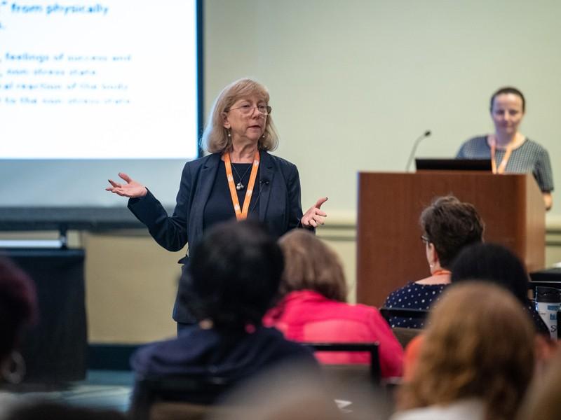 Debra Schaller-Demers facilitating at a conference.