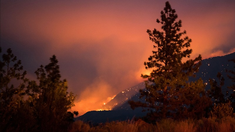 Wildfire burns above the Fraser River Valley near Lytton, British Columbia, Canada.