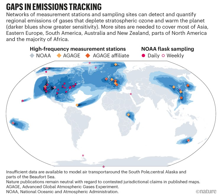 Gaps in emissions monitoring.  Map showing the locations of stations and vials.