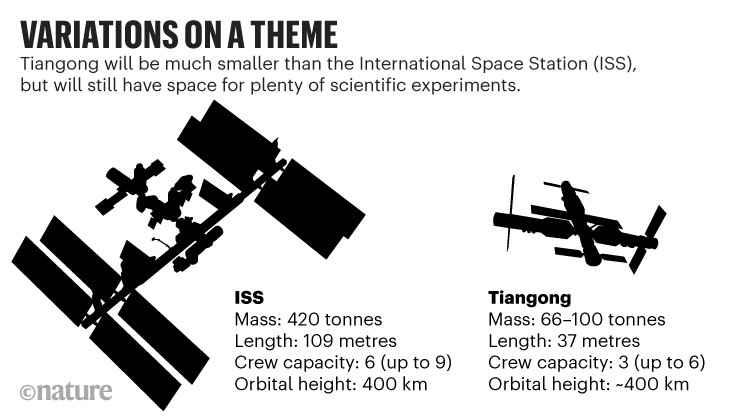 Variations on a theme: Diagram comparing the Tiangon space station to the International Space Station.