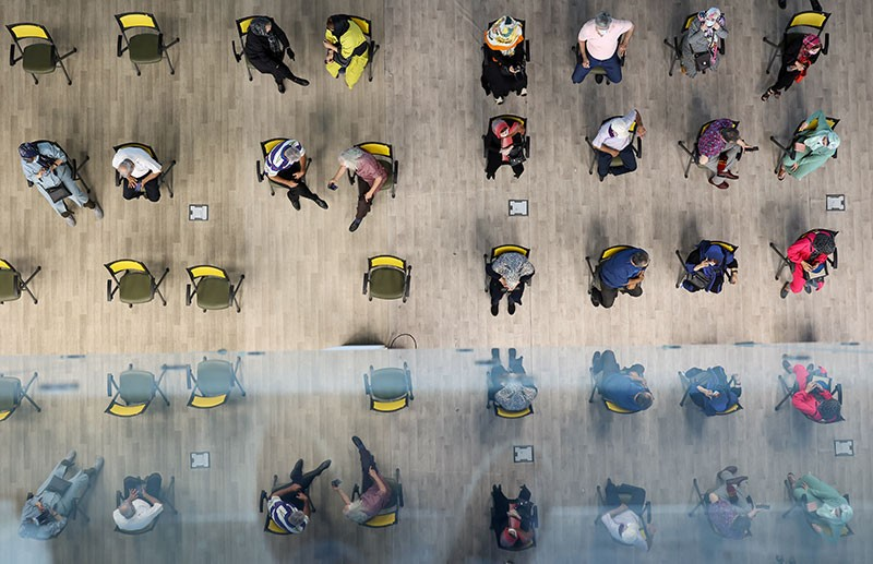 Aerial view of Iranians waiting for a COVID-19 vaccine at a vaccination center in Tehran, Iran