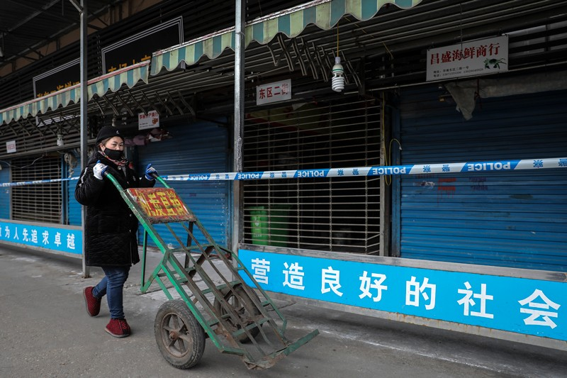 A woman wearing a mask pushes a wheelbarrow past shuttered stalls in the closed Huanan Seafood Wholesale Market, Wuhan, China