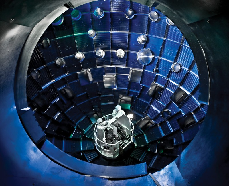 People inside the NIF Target Chamber