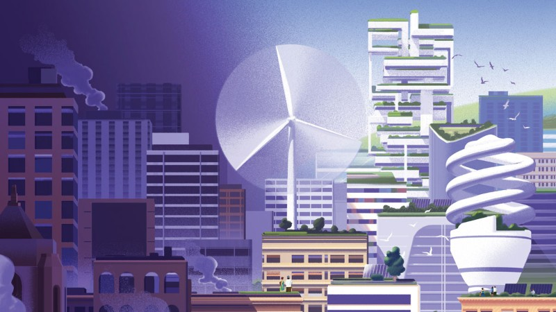 A cityscape moves from dark to light as sustainable elements such s windpower are added