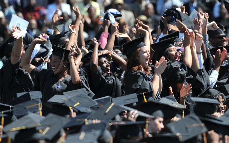 Graduating students cheering
