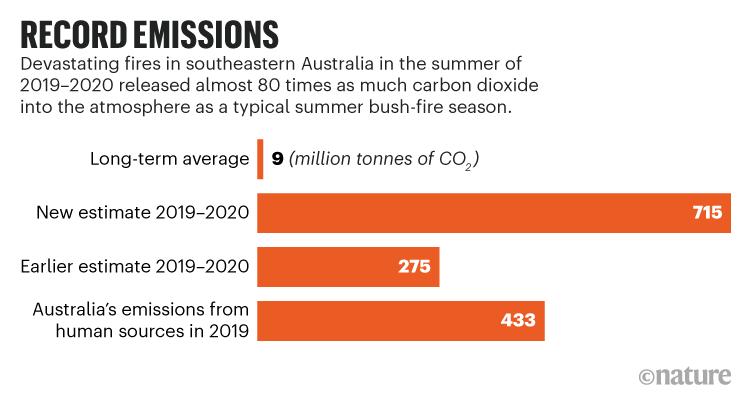 REGISTRO DE EMISIONES.  Los incendios en Australia en 2019-2020 liberaron casi 80 veces más dióxido de carbono que una temporada típica de incendios forestales.