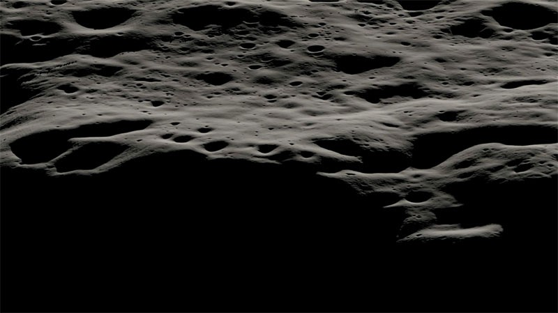 A data visualization of the mountainous area west of the Nobile crater.