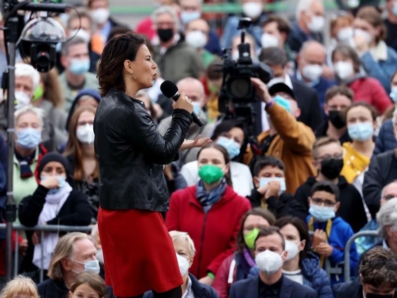 Green Party Chancellor Candidate Annalena Baerbock Election Rally.