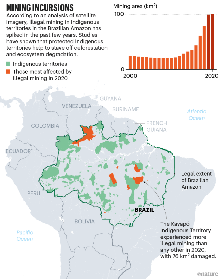 Mining incursions. Map showing indigenous territories affected by illegal mining in Brazil.