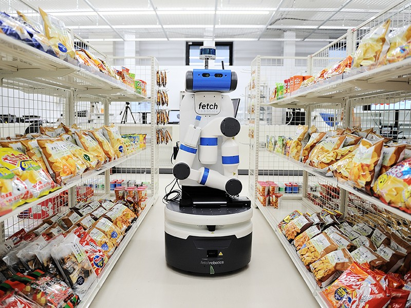 The robot Fetch of Fetch Robotics in an experimental convenience store at AIST, Tokyo, Japan.
