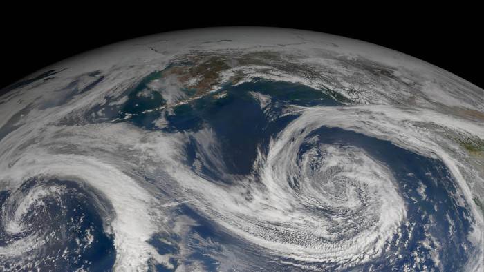 As the climate changes, storms such as this one in the Gulf of Alaska will meander poleward.