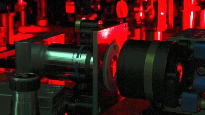 Hydrocarbon molecule hit with laser pulses.