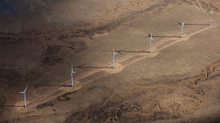 Wind turbines spin in Wyoming, but warming could markedly cut wind-energy potential in the region.