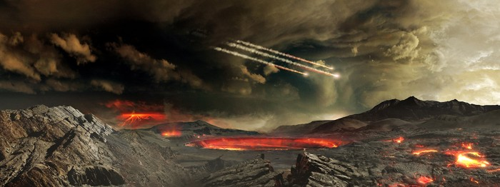 An artist's concept of the young Earth being bombarded by asteroids.