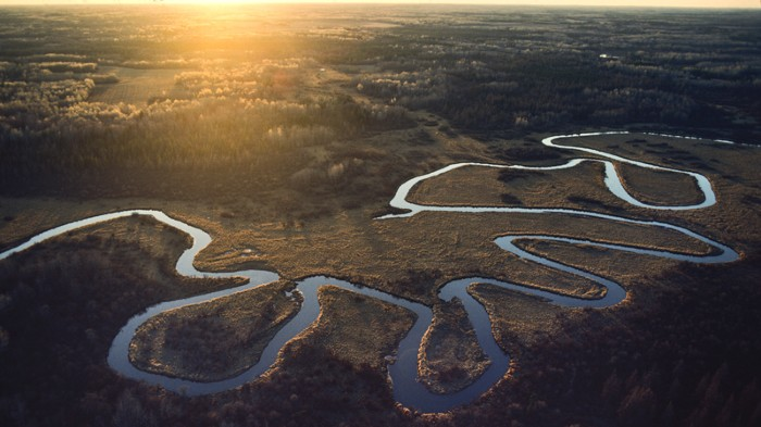 The Mississippi River winding through marshlands in Minnesota