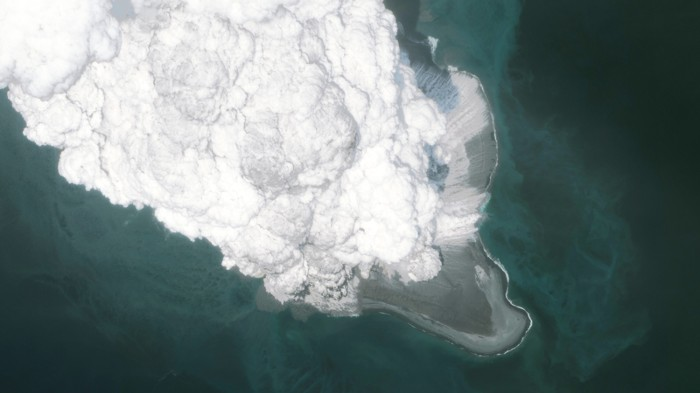 Aerial view of the Bogoslaf volcano erupting