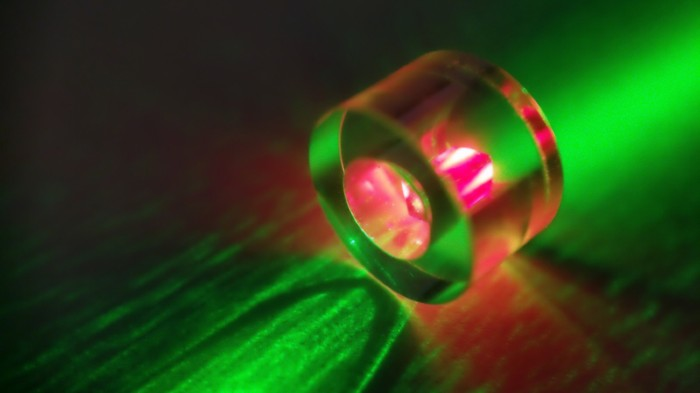A diamond is illuminated with a green laser