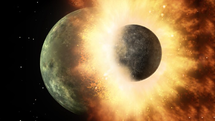 Artists impression of planetary impact of two celestial bodies