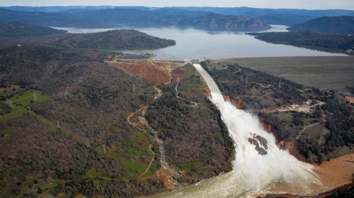 Water cascading down a spillway from Oroville Lake