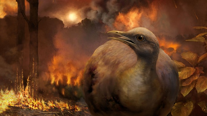 A bird flees a burning forest in the aftermath of the asteroid strike