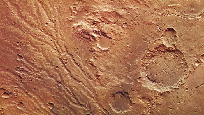 Network of drainage valleys in the Arda Valles region of Mars