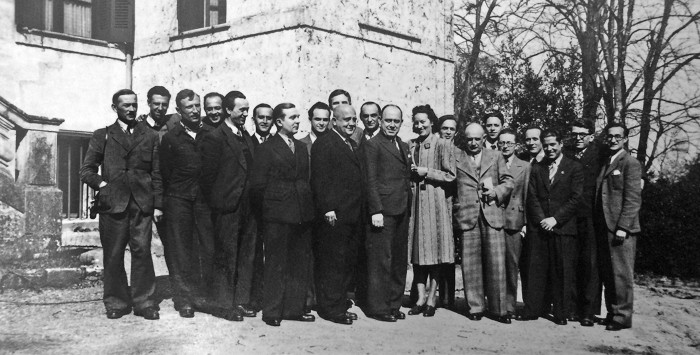 Polish cryptographers working in exile in southern France pose for a team photo in 1941