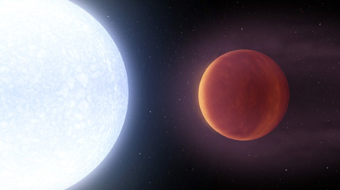 Artist's concept showing planet KELT-9b orbiting its host star, KELT-9.