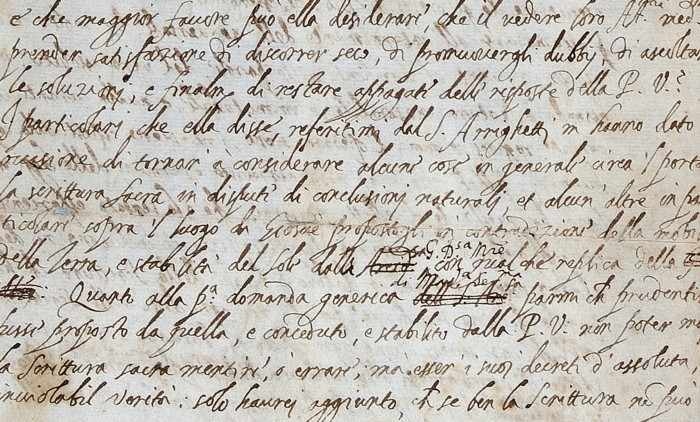 Close up of Galileo's letter