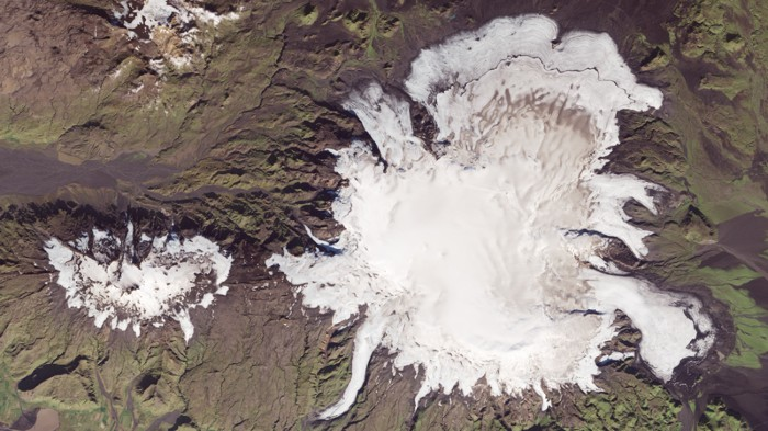 Satellite view of subglacial volcano, Katla, in Iceland