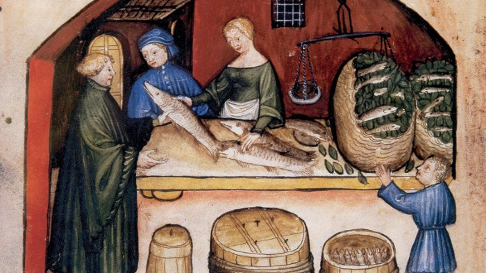 Illustration of fishmonger from medieval book