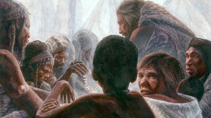 Illustration of Neanderthals with modern humans