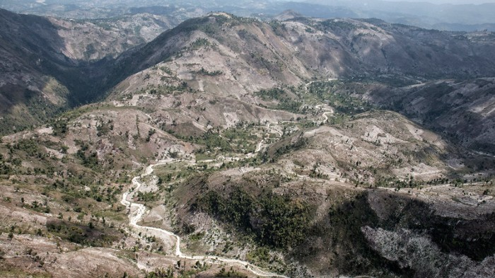 Deforested hills in the Massif De La Hotte, Haiti