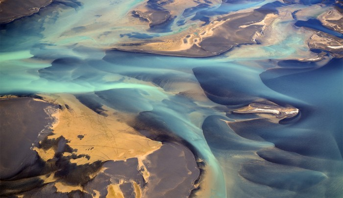 Aerial view of a river delta in Iceland