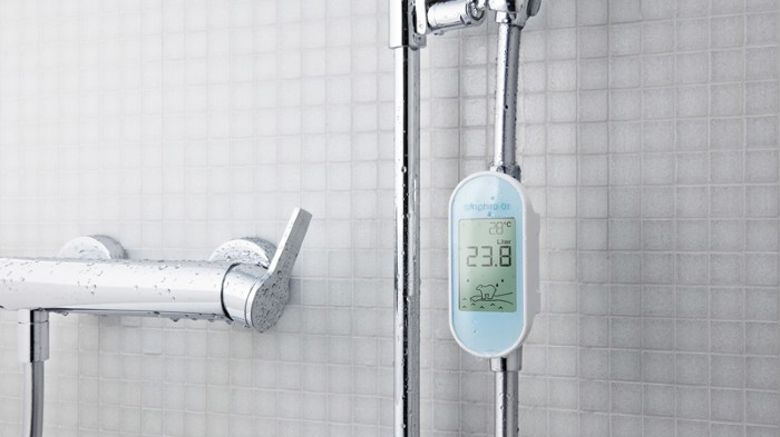 Photo illustration of a smart shower meter