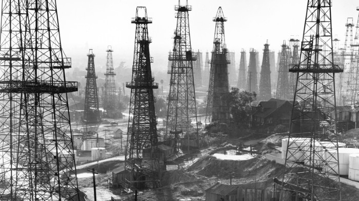 Forest of wells, rigs and derricks crowd the Signal Hill oil fields.