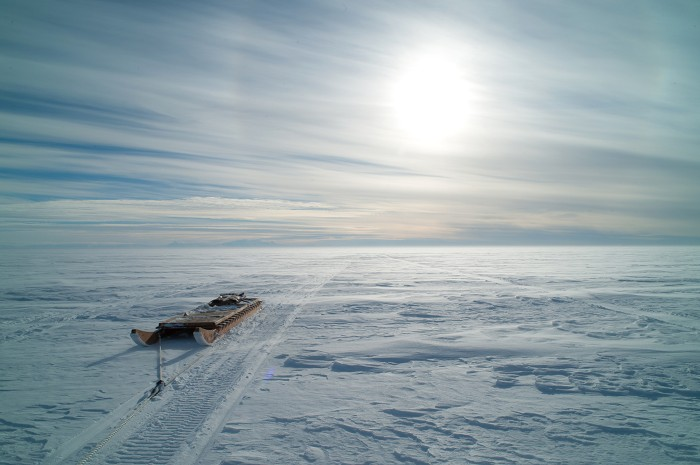 Near the Whillans drill site toward the Trans Antarctic mountains along the edge of the ice shelf