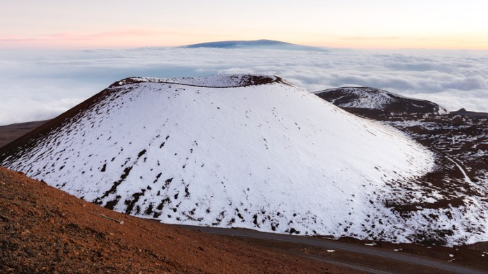 A snow covered crater on Mauna Kea, Hawaii