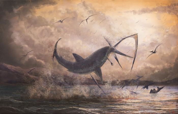 Illustration of Cretoxyrhina attacking Pteranodon