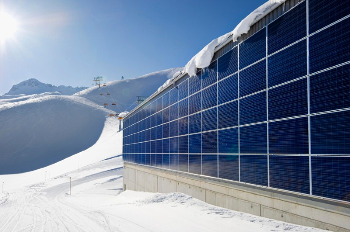 Solar panels on ski lift station
