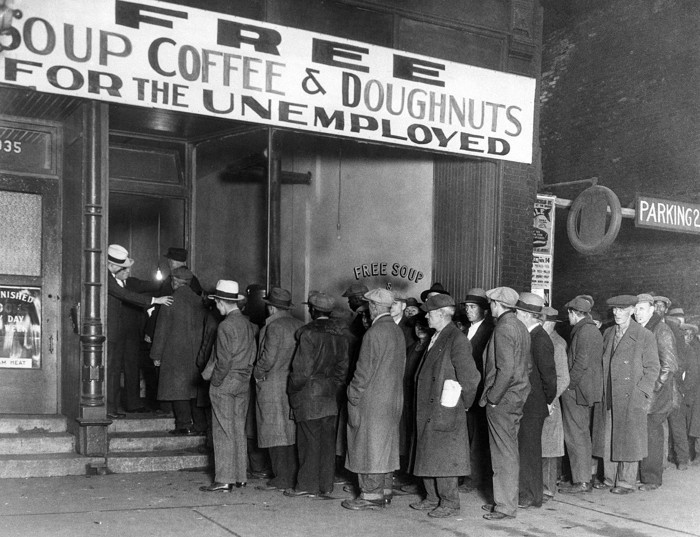 Notorious gangster Al Capone attempts to help unemployed men with his soup kitchen in 1930.