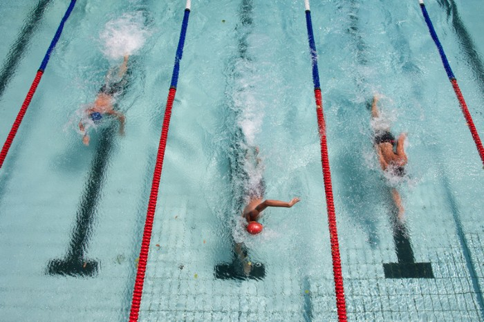 Three swimmers in a race